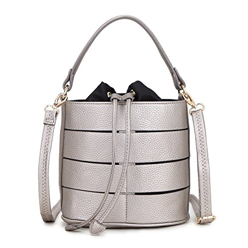 Detachable Sling Bag Silver Bucket Fashion Cross Handle Hollow Body Drawstring and Strap Shoulder Design Ladies Grab with Bags Long LS Adjustable Splicing qwHgIdq
