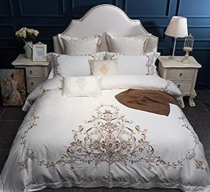 0a6d47389a30 Amazon.com : 7Pcs Luxury White Egyptian Cotton King Queen Size Bedding Set  Grey Pink Embroidery Duvet Cover Bed sheet set Soft Bedclothes NO.3 :  Everything ...