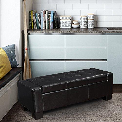 Homebeez Storage Ottoman Rectangular Leather Ottoman Black Modern Tufted Storage Bench Footstool 51.6X20.7X17.7 Inch