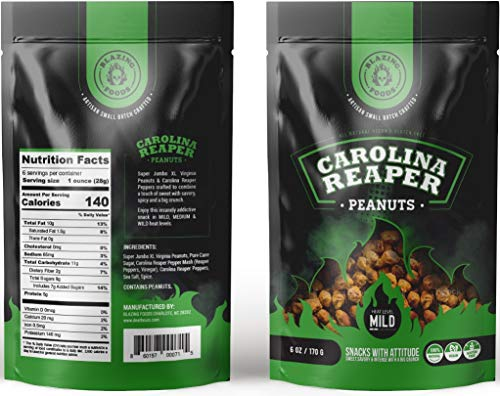 - Carolina Reaper Peanuts small batch Super Jumbo Peanuts fused with the world's hottest pepper crunchy, sweet, intense and insanely addictive - A Perfect gift for spicy food and hot snack lovers (Mild)