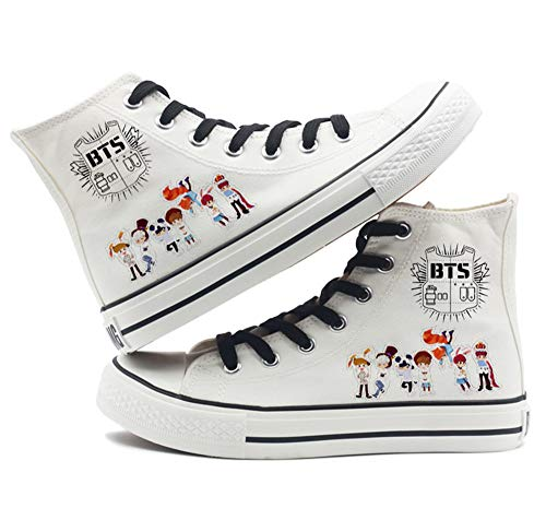 BTS Bangtan Boys Canvas Shoes Jungkook Jimin V Suga Women Casual Shoes (8.5, High whiteA) ()