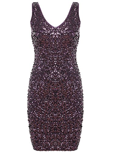 Purple Sequin Dress (PrettyGuide Women Sexy Deep V Neck Sequin Glitter Bodycon Stretchy Mini Party Dress (Purple))