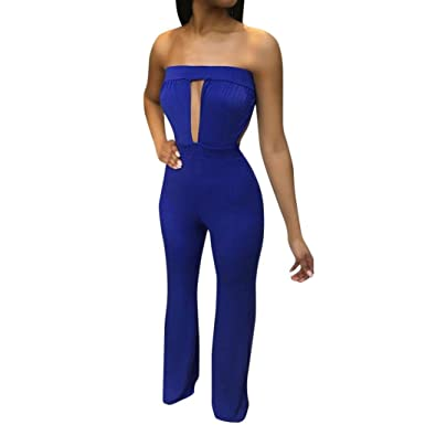 4035e48dd57 Minisoya Women Cut Out Off Shoulder Strapless Romper Playsuit Casual Solid  Backless Wide Leg Jumpsuit Pants