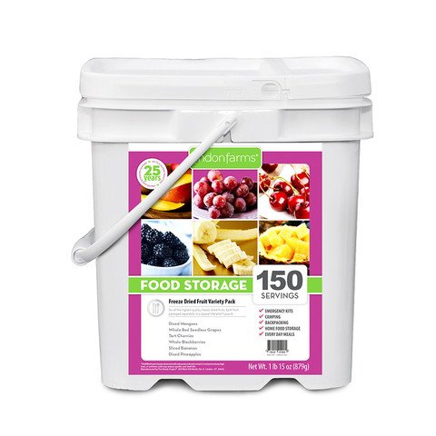 Lindon Farms 150 Tropical Freeze Dried Fruits Snack Meal Earthquake Evacuation Disaster Preparedness Travel Longterm Food Storage Bucket by Lindon Farms (Image #7)