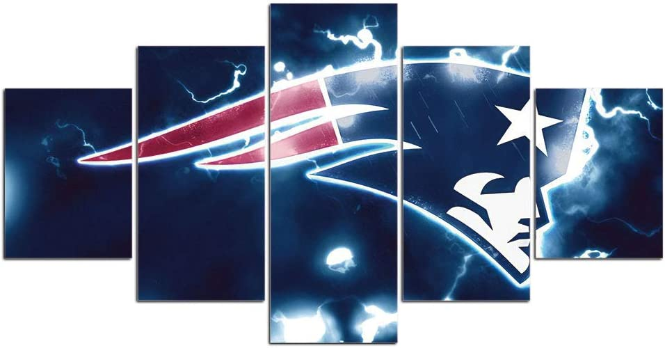 New England Patriots Wall Decor Art Paintings 5 Piece Canvas Picture Artwork Living Room Prints Poster Decoration Wooden Framed Ready to Hang(60''Wx32''H)