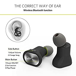 Completely True Wireless Earbuds Bluetooth Stereo V4INK TEANA Smart Mini Wireless Headphones Bluetooth V4.1+EDR with Mic Sweatproof earpiece for Cellphone iPhone, Android on Sports or indoor (Black)
