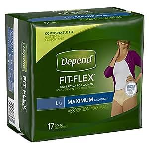 Depend Underwear for Women, Maximum, Large, Pack/17