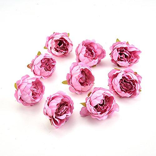 FLOWER Artificial Peony Head Wedding Decoration DIY Decorative Wreath Fake European Fall Vivid Silk 15 Pieces 5cm (Pink)]()