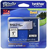 Brother Tape, Retail Packaging, 1 Inch, Black on Clear (TZe151) - Retail Packaging
