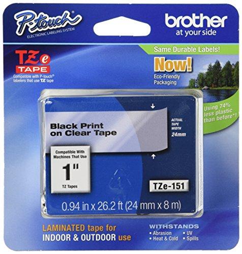 Brother TZe-151 cinta para impresora de etiquetas Negro sobre transparente - Cintas para impresoras de etiquetas (Negro sobre...