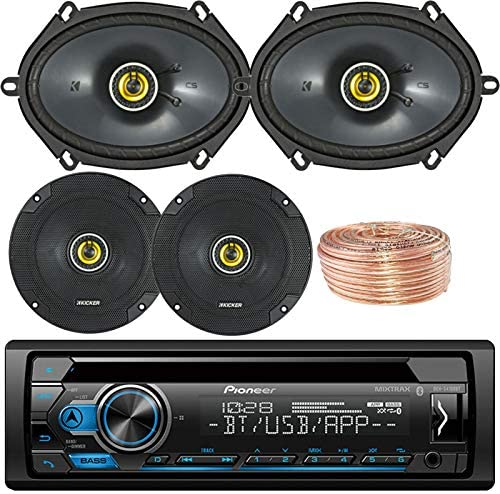 Pioneer DEH-S4000BT Car Bluetooth Radio USB AUX CD Player Receiver – Bundle Combo With 2x Kicker CS654 6.5 300W 2-Way Coaxial Speakers 2x 6×8 450W Speaker Enrock 50 Foot 18 Gauge Speaker Wire