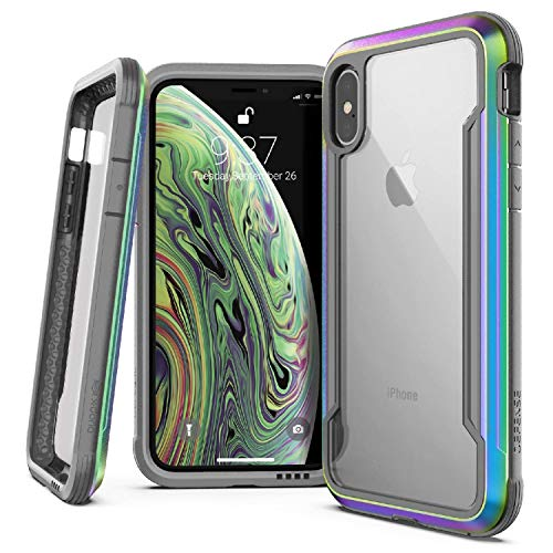 X-Doria Defense Shield Series Case Designed for iPhone X, iPhone Xs, Military Grade Drop Tested, Anodized Aluminum, TPU, and Polycarbonate Protective Case, [Iridescent]