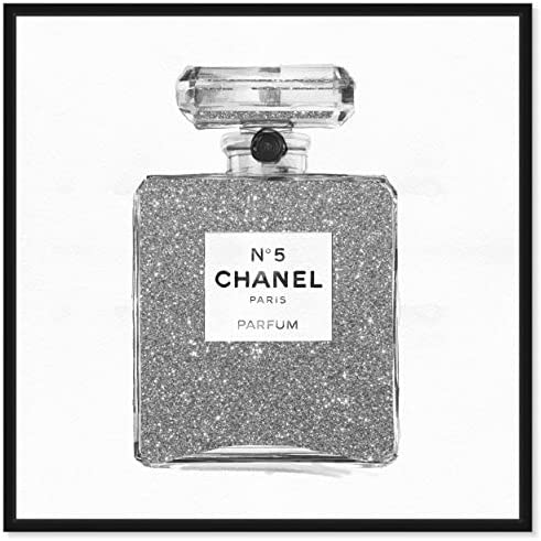 The Oliver Gal Artist Co. Fashion and Glam Framed Wall Art Canvas Prints 'Silver Classic Number 5' Perfumes Home D cor
