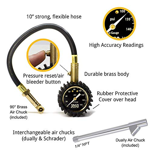 JACO EliteProPlus Tire Pressure Gauge with Interchangeable Dually Air Chuck - 160 PSI - http://coolthings.us