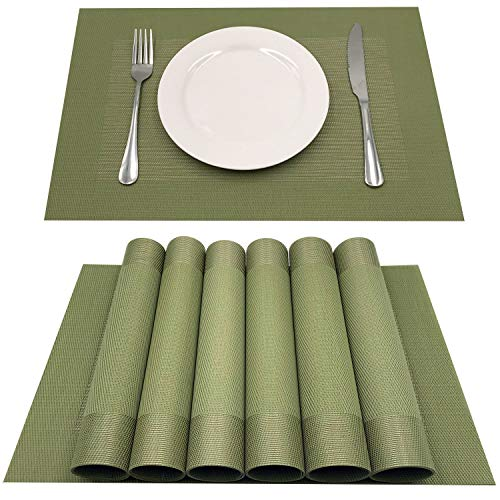 AMZMOO Placemats for Dining Table Set of 6,Placemats for Table Woven Vinyl Kitchen Placemats,Dining Table Mat Anti-Slip,Heat Insulation PlaceMat(Green) (Dining Table Set Green)