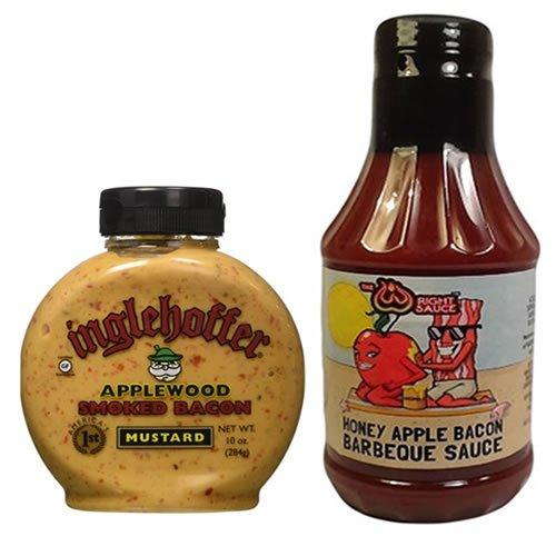 Honey Bacon (Bacon Mustard & Bacon BBQ Sauce Combo Pack (2 pc Set) - Applewood Smoked Bacon Mustard & Honey Apple Bacon Barbecue Sauce)