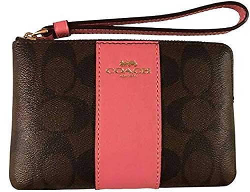 - Coach Coach Signature PVC and Leather Corner Zip Wristlet (Brown/Strawberry)