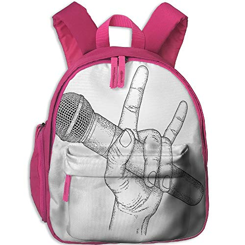 (Haixia Children Boys'&Girls' Bookbag with Pocket Popstar Party Hand Drawn High Sign for Rock Music Lovers and Microphone Sketch Art Decorative Black and White)