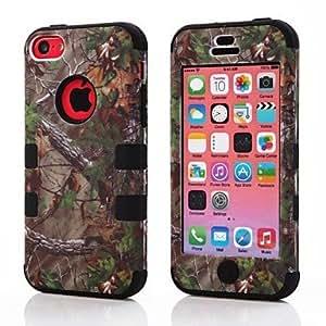conseguir 3 en 1 Modelo de servicio pesado a prueba de golpes de Árboles Forestales caso duro de la PC de silicona protector para cubrir iPhone5C , Verde