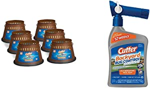 Cutter Citro Guard Candle, Triple Wick, 20-Ounce, 6-Pack & Backyard Bug Control Spray Concentrate, 32-Ounce