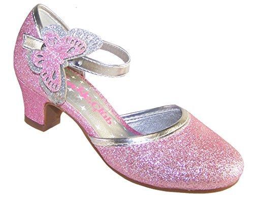 Rosa da bambina luccicante tacco basso festa scarpe con staccabile farfalla bordo