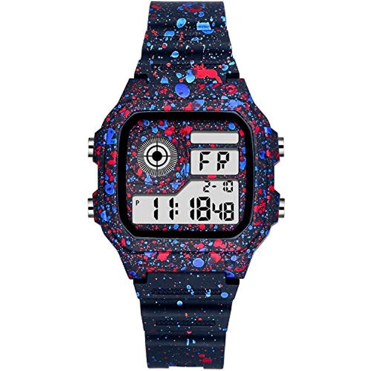 [해외] PROKING디지탈 손목시계 맨즈 레이디스 남녀 통용 방수 손목시계 LED WATCH 스포츠 워치 알람 스톱워치 기능 첨부 와 30M 방물시계 보기 편리하다 (블루&레드)