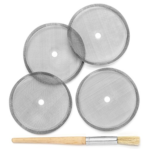 (Replacement French Press Filter Set - 4 Stainless Steel Filters & Brush - Fits Sunlit and Most 34 oz Models)