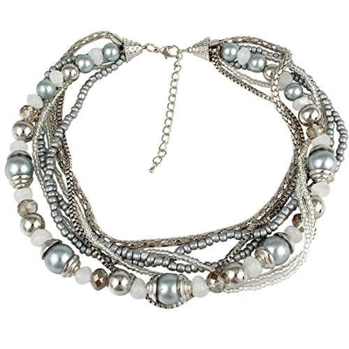 Silver Gray Glimmer Bead Necklace (Beaded Silver Necklace)