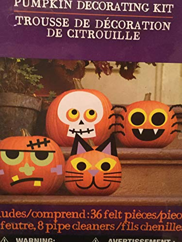 Halloween Pumpkin Decorating Kit, 36 Felt Pieces Decorates 4 -