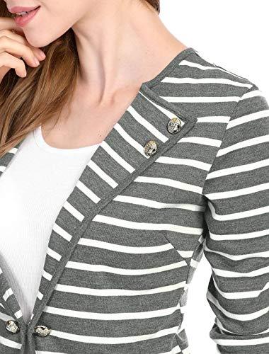 Primaverile Grau Women Leggero Cappotto Eleganti Manica Lunga Outerwear Stripe Autunno Giaccone Moda Slim Cardigan Fit Classiche Donna Giovane Giacca Casual Bqq51H