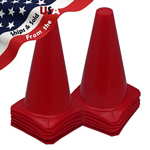 9-Inch Tall RED CONES Sports Training Safety Cone Qty 12 ()