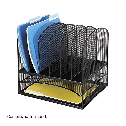 Safco Products 3255BL Onyx Mesh Desktop Organizer with 6 Ver