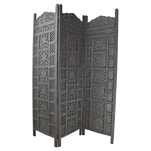 Indian Heritage Wooden Screen 20x72 Three Panel Mango Wood Cutout Design in Grey Distress (Carved Wooden Screen)