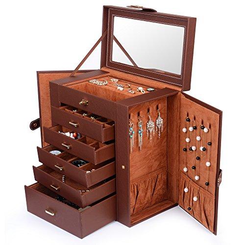 Kendal Huge Leather Jewelry Box / Case / Storage LJC-SHD5BN (Accessories Jewelry Box)