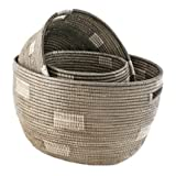 Nesting Handmade Woven Storage Basket Set - Grey Block - Fair Trade Poduct