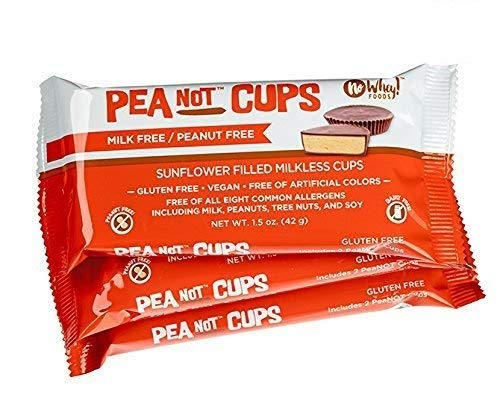 No Whey - Large Chocolate PeaNot Butter Cups (3 Pack) - Peanut Free, Nut Free, Dairy Free, Soy Free, Vegan, Gluten Free -