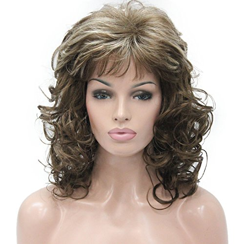 Aimole Womens Natural Long Curly Wig Synthetic Hair Full Wigs(12TT26-Brown Highlighted)