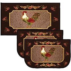 Kashi Home Kitchen Rug, Area Rug, Mat, Carpet, Non-Skid Latex Back (3 Pc Set, Rooster Brown)