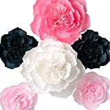Paper Flower Decorations, Giant Paper Flowers, Large Crepe Paper Flowers (Pink, White, Steel Gray Set of 6), Handcrafted Flowers for Wedding Decor, Bridal Shower, Baby Shower, Nursery Wall Decorations
