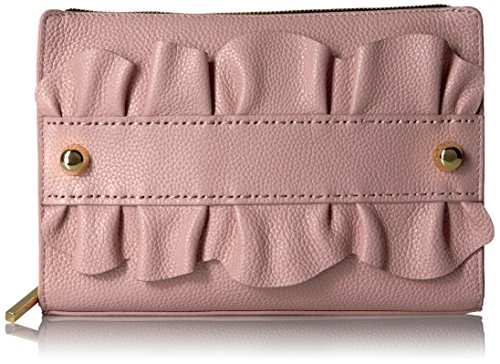 MILLY Astor Ruffle Top Zip Clutch, Dusty Rose by MILLY