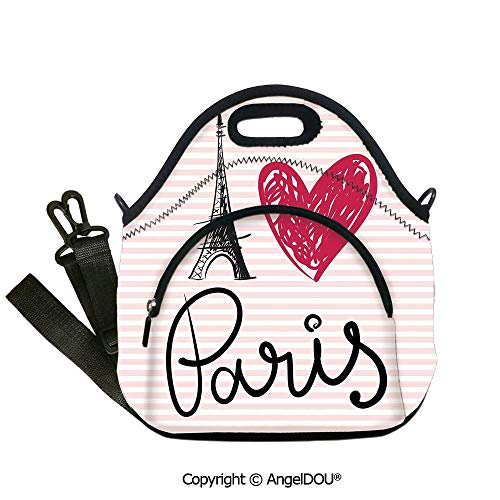 AngelDOU Paris City Decor Reusable Insulated Lunch Bags with Pocket Eiffel Tower Illustration Classic Symbol of Romantic Famous Icon Tourist Attraction Decorative for Students Of12.6x12.6x6.3(inch)