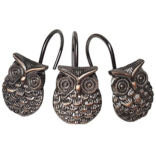 Grace life 12Pcs Owl Design Shower Curtain Hooks Home Fashion Zinc Alloy Decorative Rust Proof Shower Curtain Hooks Hangers for Bathroom Living room Bedroom ()