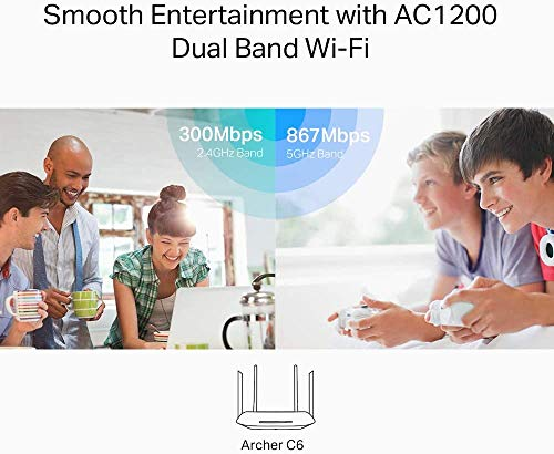 TP-Link Archer C6 Gigabit MU-MIMO Wireless Router, Dual Band 1200 Mbps Wi-Fi Speed, 5 Gigabit Ports, 4 External Antennas… 2021 June Dual Band WiFi speed —— Simultaneous 2.4GHz 300 Mbps and 5GHz 867 Mbps connections for 1200 Mbps of total available bandwidth; supports 802.11ac standard Ultimate Range Wi-Fi —— 4 external antennas and one internal antenna provide stable wireless connections and optimal coverage Qualcomm Chipset —— High-Performance Chipset provides an excellent connection experience
