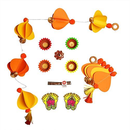 Diwali Diya Decorations Pooja Kit or Deepawali Gift Hamper - Set of 4 Earthen Diyas Dhoop Stick with Holder and Lakshmi Feet Stickers and Set of 2 Toran - Home Decor & Gift for Housewarming