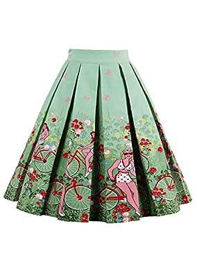 malishow Women's Vintage Flare Pleated Umbrella Skirt High Waist A-Line Midi Dress