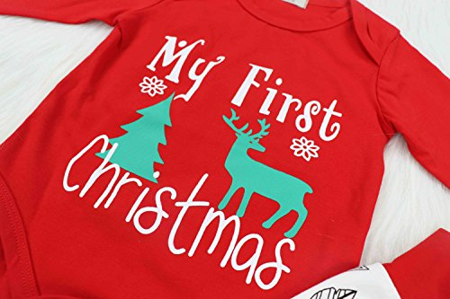 2c079f5bd 4Pcs Baby Boys Girls My First Christmas Rompers Year Outfit Set. by doding