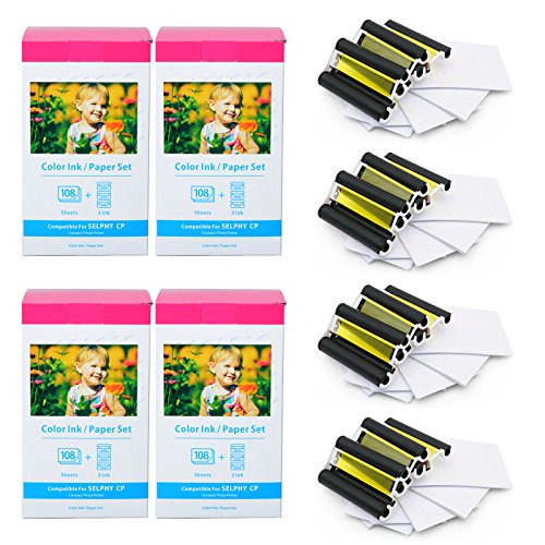 (GREENCYCLE Compatible KP-108IN Ink/Paper Set 4 x 6