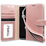 LG V20 Case, TORU [Prestizio][Teal] Wallet Case - Synthetic Leather Wristlet Flip Cover with [Card Slot][ID Holder][Kickstand][Wrist Strap] for LG V 20 - Rose Gold
