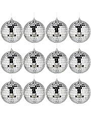 12 Stuks Zilver Disco Ball Spiegelbol Zilver Reflecterende Spiegel Bal Kerstboomversiering Spiegelbol Spiegel Discoballen Met Hangende Ringen voor Feesten, Bruiloften, Kerstbomen en Bars