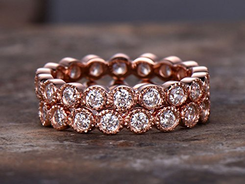 2pcs Milgrain FULL eternity ring,925 sterling silver wedding band,anniversary ring.Art deco antique.stacking (Antique Eternity Wedding Ring)